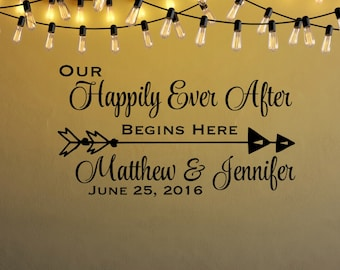 Wedding Wall Decal - Wedding Entrance Decal - Temporary Wedding Decor - Personalized Decals - Happily Ever After Decal - Copper Wedding Deco