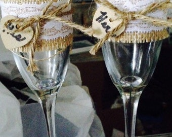 His and hers burlap and lace toasting glasses
