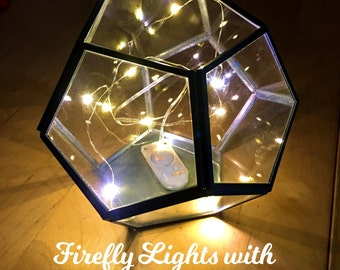 Firefly Lights in Geometric Terrarium, wedding lights, rustic lighting, indoor lighting, outdoor lightning, geometric lamp,geometric lantern