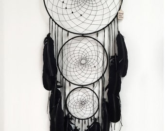 Midnight Moon Dreamcatcher ~  Hand-stitched, Beads, Feathers