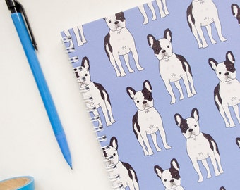 French Bulldog Notebook. Blue A5 Spiral Bound Journal with Frenchie. Blue Dog Notebook Gift.