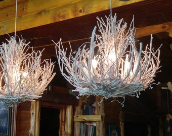 Grapevine Chandelier: Stone Mountain - Modern - Rustic - White Chandelier - 3 light Custom Twig  Light - White Grapevine Chandelier - Custom Handmade OOAK,Lighting