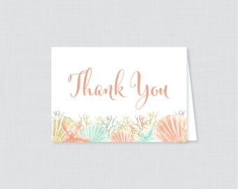 Printable Beach Themed Thank You Card - Instant Download - Coral Nautical Baby Shower Thank You Card, Under the Sea Thank You Card - 0047-C