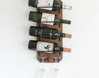Wood Wine Rack, Wall Mounted Wine and Glass Rack, Rustic Wine Rack, Wall Hanging Wine Holder, Wine Rack and Glass Holder