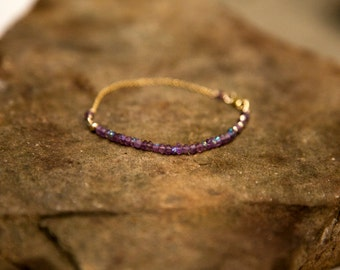 Handmade Delicate Diamond-Coated Amethyst and Gold-Filled Chain Bracelet