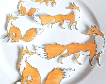 Edible Foxes Fox Wafer Paper Fall Cake Decorations Autumn Wedding Cupcake Cookie Toppers Spring Woodland Forest Animals Orange Pair Cute