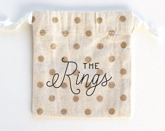 "Gold Ribbon Drawstring Wedding Engagement Ring Bearer Pouch, ""The Rings"" Bag"