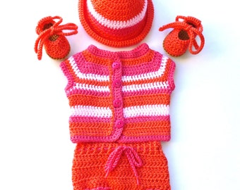 Baby Girl, Crochet, Set includes a Coral, Hot Pink and Light Pink Sweater, Diaper Cover, Hat, and Sandals; Size: 0-3 Months