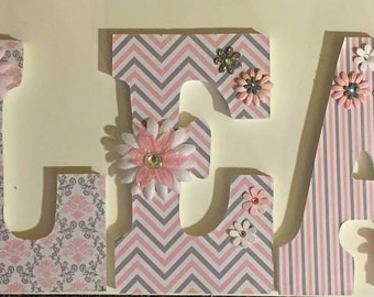 Damask baby nursery letters, hanging letters, girls room letters, wall letters, wood letters, personalized letters, pink and gray letters,