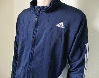 NAVY ADIDAS JACKET -90s, track, stripes, blue, vaporwave, sportswear, nike, kappa, black, white, cyber, goth, hip hop, windbreaker-