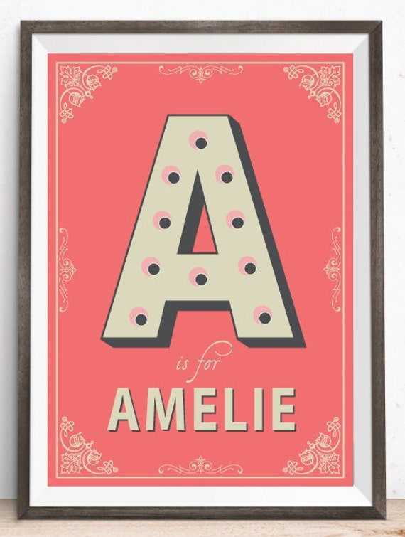 Name In Lights Wall Decor : Vintage Letter Name in Lights Personalised Art Print Vintage