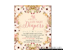"""Late Night Diaper Game Sign 8x10"""" // Woodland Baby Shower Games // Floral Baby Shower Games Printable INSTANT DOWNLOAD // Printable No.1096"""