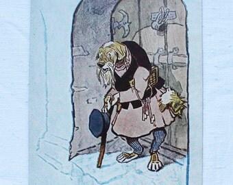 "Illustrator Rachev Vintage Soviet Postcard ""The Faithful Trésor"" Saltykov-Shchedrin, fairy tale - 1957. Sovetskiy hudozhnik. Dog"
