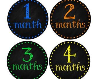 Milestone Baby Month Stickers- 12 month stickers- Monthly Stickers- Milestone Sticker- Baby Month Stickers- Baby Boy Month Stickers- B12