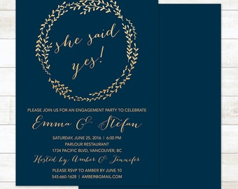 navy gold engagement party invitation, navy and gold wreath she said yes invitation, modern shower digital customizable invite