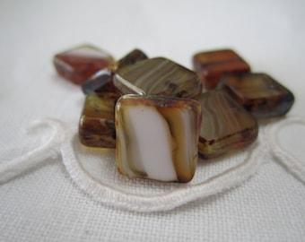 Brown Czech Glass Beads Cream Czech Glass Beads Cayenne Czech Glass Beads Brown Picasso Czech Beads 10x10mm (10 pcs)