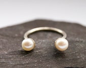 Open Freshwater Pearl Sterling Silver Ring ~ statement ring, stacking ring, pearl, wedding, bridesmaid, adjustable, open, solitaire,