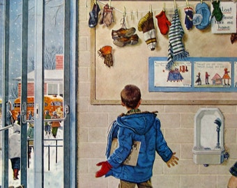 1957 Boy With Mismatched Shoes at School Lost & Found - Saturday Evening Post Cover Art - Ben Prins Illustration - 1950s Elementary School