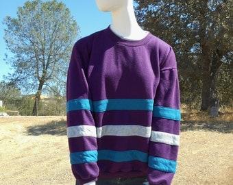 80's Vintage Purple Striped Sweatshirt (Jaclyn Smith Sport-Women's Size Large)