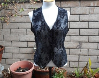80's Vintage Lingerie-Black Lace Camisole Top (Colesce Collection-Size Large)