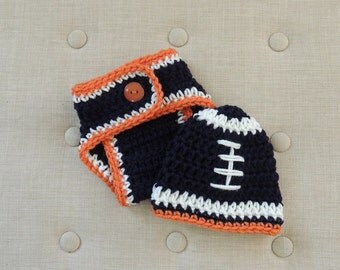 Crochet Football beanie Set, Luv Beanies, Diaper Cover, Bronco Beanie, Baby Bronco Beanie, Bronco hats, Hats For Boys, Hats for babies