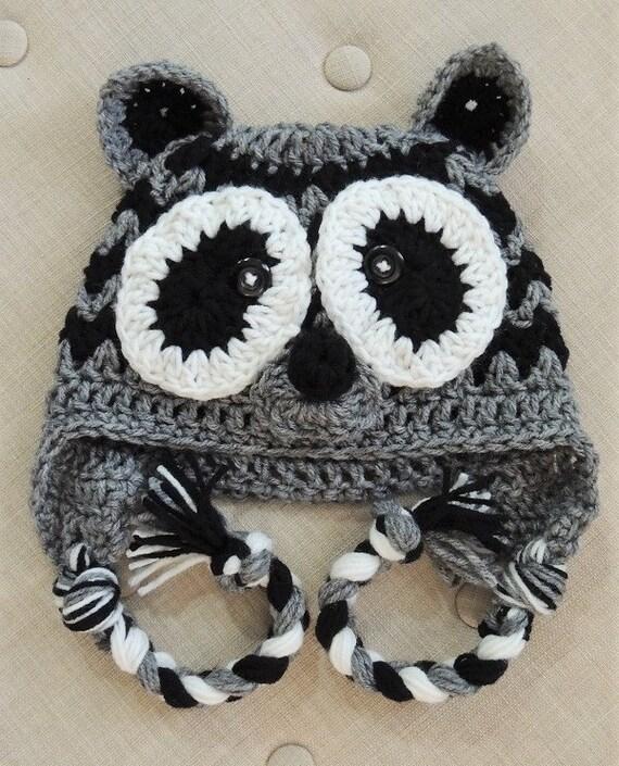 Crochet Patterns For Childrens Animal Hats : Crochet Raccoon Hat LuvBeanies Animal Hats Children Hats
