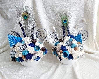 SET of 2 flowers arrangements centerpiece altar decor cream brown dark blue turquoise wedding real PEACOCK feathers pine cones cedar rose