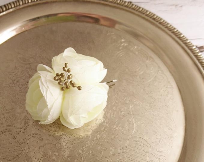 Wedding hair pin flower bobby pin wedding hair clip silk flower peonies off white bridal hair piece custom