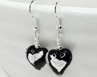 Black Heart Earrings Murano Heart Jewelry Black Silver Italian Glass Earrings Unique Gift for Her Elegant Birthday Gift 21st Birthday Gift