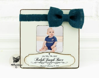 Baptism Gift Boy Christening Gift BOY Baptism gift from Godparent Personalized picture Frame Godchild Frame  Baby Shower First Birthday Gift