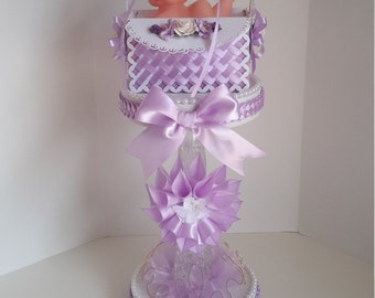 Lavender centerpiece, Lavender baby shower centerpiece, girls centerpieces, girls baby shower centerpiece