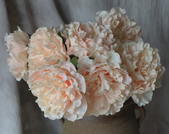 Blush Peach Peonies Real Touch PU Flowers For Silk Wedding Bridal Bouquets, Wedding Table Centerpieces