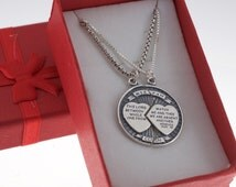 Mizpah Coin Charm Pendants for Him and Her in sterling silver.