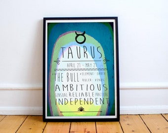 Taurus - Zodiac Star Sign Typography Print - Colourful - Birthday - Starsigns - Birthdate - Astrology - Horoscopes - Star-signs