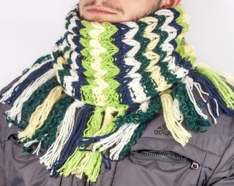 Crocheted Scarf,  Men Scarf, Chunky Knit Scarf, Crochet Cowl, chunky Scarves, Neck Warmer by Loveknitings