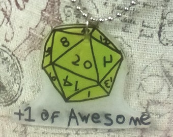 """Polyhedral dice """" +1 of Awesome """" Necklace Hand Drawn OOAK  20 sided Dice"""