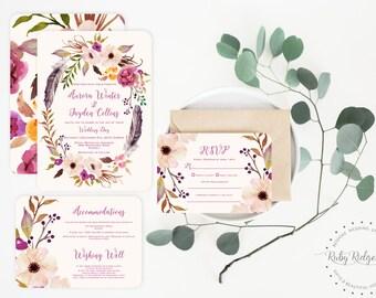 Romantic Watercolor Floral Wedding Invitation | Floral Wedding Invite | Floral Bohemian Wedding Invitation | Printable Invitations