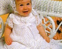 Crochet White Christening Dress & Bonnet Set, Christening Gown Pattern - PDF Download