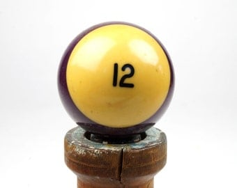 "12 Old Phenolic Resin Billiard Ball Size 2.25"" Pocket Balls Twelve XII Purple Violet Pool Stripes Striped Stripe"