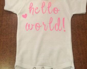 hello world onesie with neon pink glitter