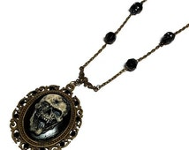 Vampire Skull with Bullet Hole Cameo Horror Necklace, Skull Cameo Gothic Jewelry, Skull Cameo
