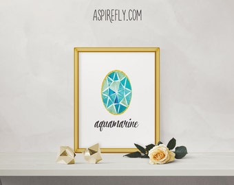 Aquamarine stone March birthstone birthday gift birthday present - INSTANT DOWNLOAD printable art printable wall art home decor gemstone art