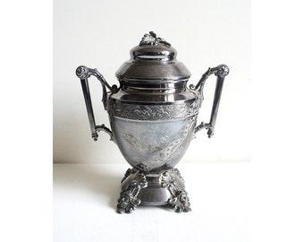Victorian Sugar Bowl, Tebble Plate Simpson Hall Miller & Co, 1877, Flatware, Engraved Figural Vase Pot