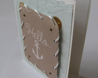 Hello Anchor   Blank Greeting Card   Hand Made