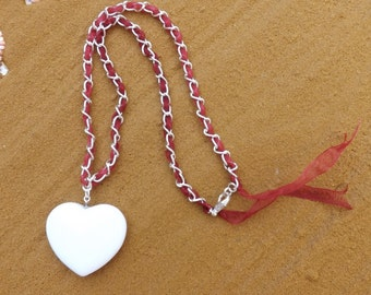 Heart pendant, white pendant, heart necklace, ribbon necklace, Christmas necklace, xmas pendant