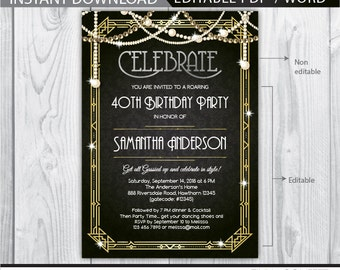 art deco birthday invitation, great gatsby invitation, great gatsby birthday invitation, 40th birthday invitation, 30th, 50th, 1920s theme