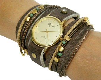 Wrap leather Watch-Woman Watch in Brown Colors-Women Watches-Wrap Watch-Watch-Wrap Around Watch-Double Wrap Watch-Wrap Watch Bracelet