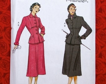 Butterick Sewing Pattern B6379 Skirt Suit Fitted Jacket, Princess Seams, Plus Size 14 16 18 20 22, Retro 1950's New Look Style, Fall, UNCUT
