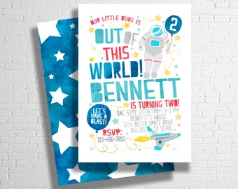 Space Birthday Invitation | Space Invite |  Astronaut Birthday Invitation | Outer Space Invitation | Out of This World | DIGITAL FILE ONLY