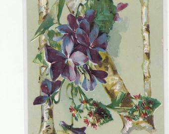 "Antique Postcard C1910 Alphabet Letter  ""N"" Violets, Letter Is Grained Wood"